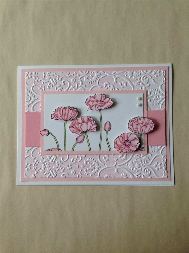 Stampin' Up! Pleasant Poppies shower or birthday card...for other Stampin' UP! ideas see mybluebonnetcottage.com