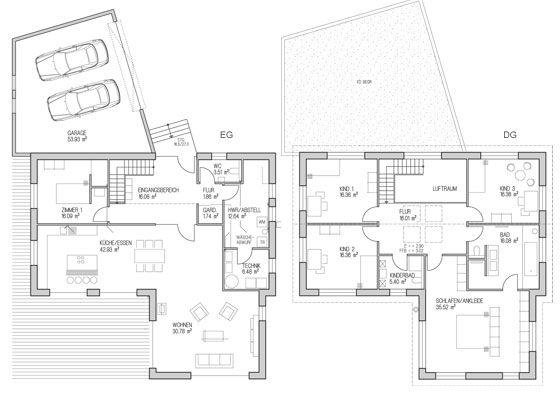 Das großzügige Klimaholzhaus ist ein Gebäude in L-Form, das ohne Keller auskommt. Hell und offen geschnitten, erstreckt sich das Haus über zwei Etagen. Von der Doppelgarage gelangt man, durch eine Überdachung vor Regen geschützt, direkt in den Eingangsbereich. Von hier aus führt eine Treppe in den zweiten Stock, der mit zwei Bädern, zwei separaten Kinderzimmern, einem Schlafzimmer mit Ankleideraum für die Eltern und einem Büro ausgestattet ist.
