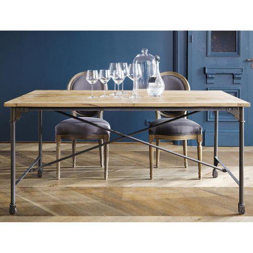 Table de salle à manger en manguier massif et métal L 170 cm