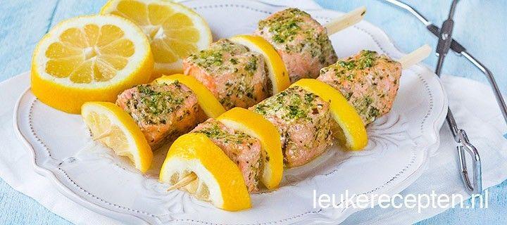 Zalm met citroen spiezen