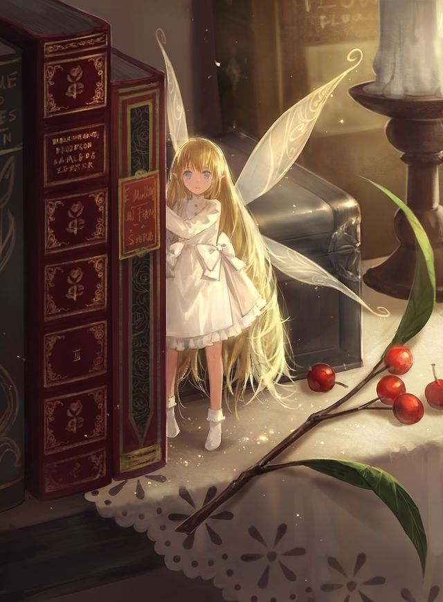 Anime fairy in the library
