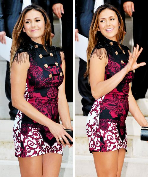 Nina Dobrev attends the Versace show in Paris Fashion Week, July 06.