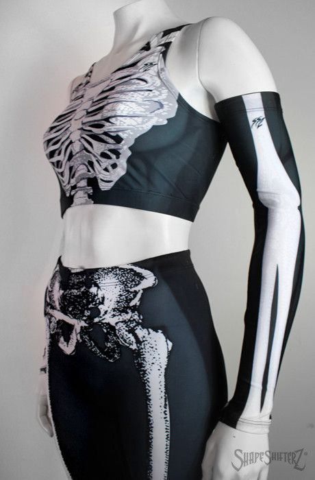 'SKELETON' Compression Arm Sleeves LEFT and RIGHT - sportswear/costume