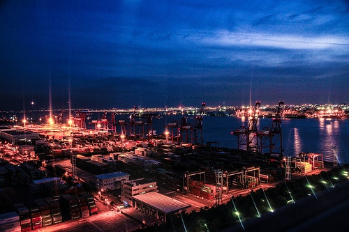 Aomi Container Terminal at Sunset