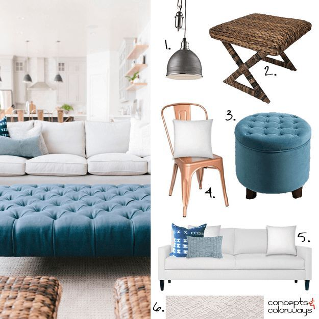 white modern farmhouse interior, get the look, interior styling ideas, interior design ideas, white sofa, powder blue pillow, indigo tie-dye pillow, putty gray rug, teal blue tufted ottoman, copper dining chair, white pillow, rattan x-brace stool, charcoal black pendant light, sherwin williams marea baja, peacock blue