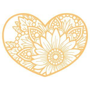 Silhouette Design Store Sunflower Heart Mandala Crafts
