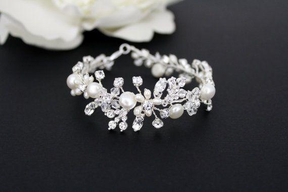 Pulsera novia perlas Pulseras de cristal, joyería de la boda, pulsera de perla de agua dulce, racimo de perlas, pulseras de cristal Swarovski