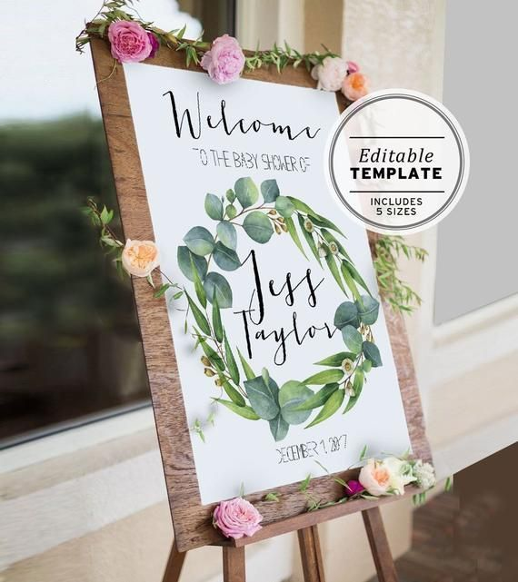 White Greenery Floral Theme Printable Welcome to Bridal Shower sign DIGITAL Welcome to Party sign Baby Shower Sign Personalized Signage