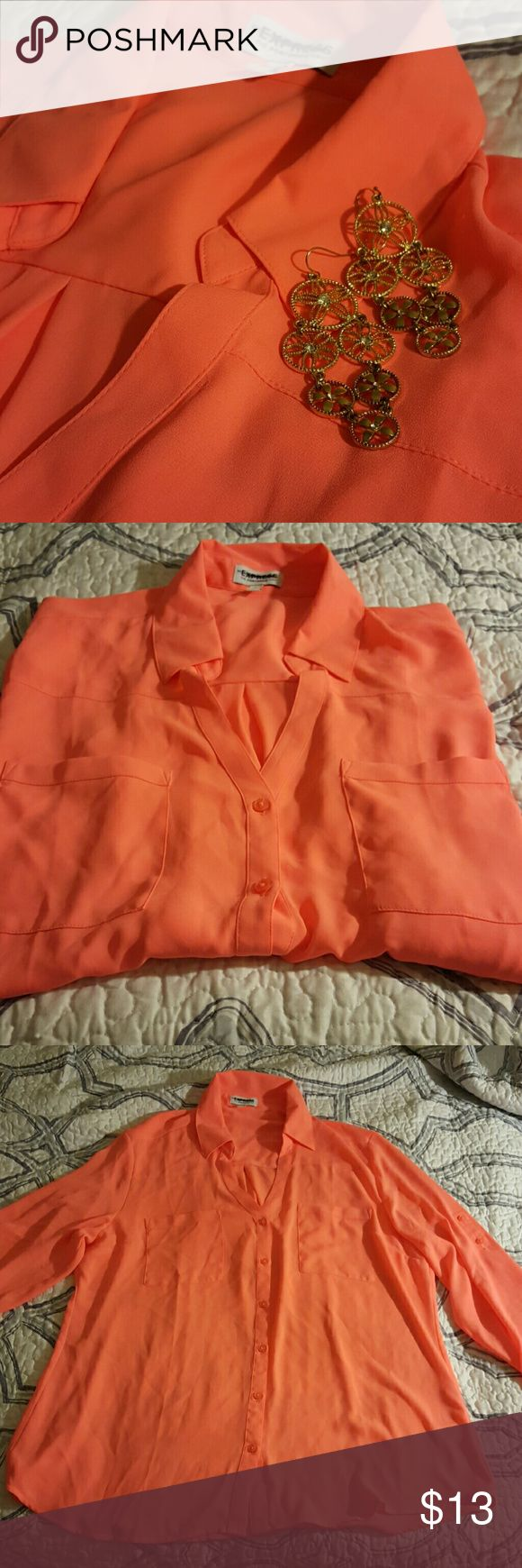 NWOT! Express Sheer top Long sleeve with buttons. I bought this a while back and never used it. The pictures are bad, but this top is an awesome orange/pinkish neon color. Could go great with black bottoms. I've thought about pairing this top with a cute mini leather skirt I have. Up for grabs ladies!!! :) Express Tops Blouses