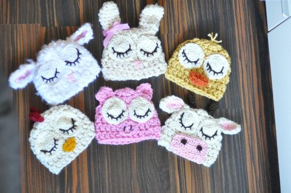 Adorable sleeping animal hats