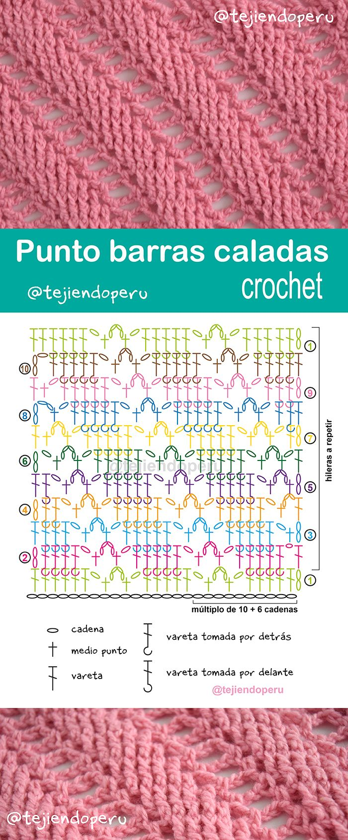 Punto barras caladas diagonales tejido a crochet.... paso a paso con video tutorial :)