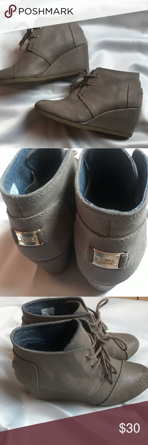 Toms wedge booties Used tom wedges still in great condition very comfortable! TOMS Shoes Ankle Boots & Booties