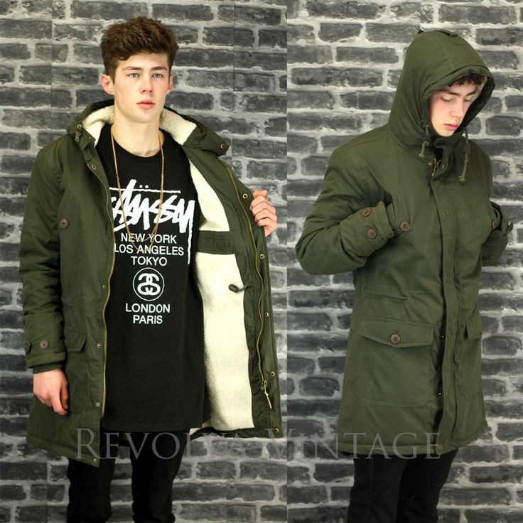 Parka Coat Mens Fish Tail Mod Style Green Parker Jacket Faux Sherpa Fleece Lined