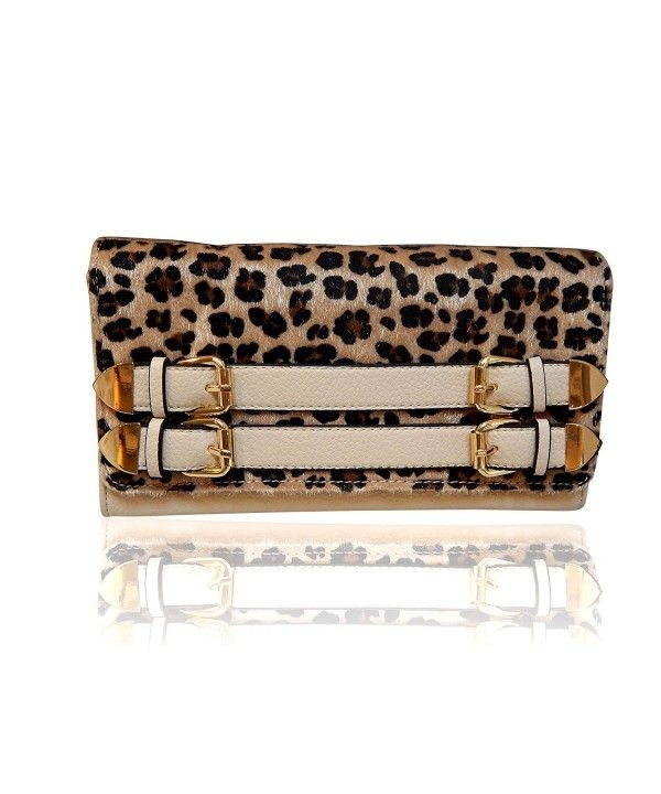 Beaute Bags Vegan Calf Hair Leopard Leatherette Handbag with Buckles Crossbody Clutch Evening Bag