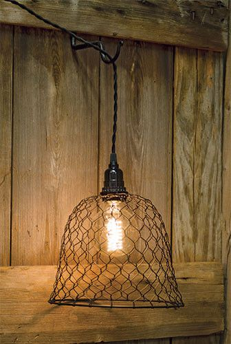 A rustic wall hanging lamp shade made from Chicken wire. DOES NOT include bulb or fixture Another quality product, from Niecey's Kitchen - FREE SHIPPING - Rustic-style wire pendant lamp shade - Fits o