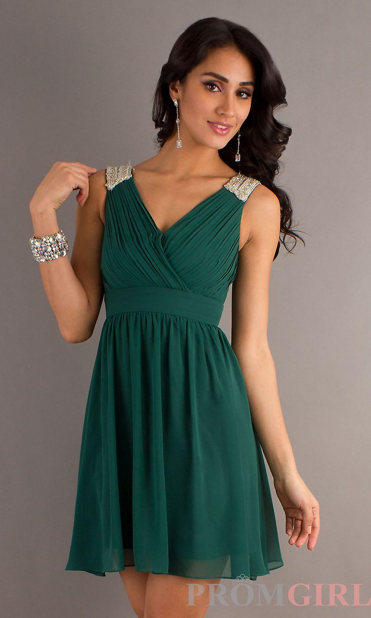 Prom Dresses, Celebrity Dresses, Sexy Evening Gowns at PromGirl: Ruched Sleeveless Short Green Dress