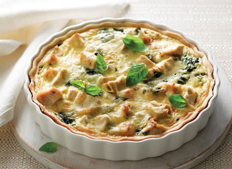 Chicken, spinach, and basil quiche: a great savory summer brunch, lunch, or dinner