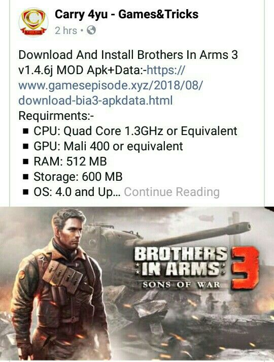 Download Brother's In Arms 3 Apk Data For Android