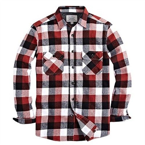 VANCL Mens Flannel Black White Red Plaid Long Sleeve Casual Shirt ...