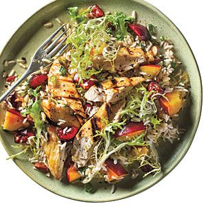 Stone Fruit Chicken-Rice SaladBrown Rice, Fruit Salad Recipe, 300 Calories Dinner, Fruit Salads, Cooking Lights, Fruit Chicken Ric, Stones Fruit, Under 300 Calories, Chicken Ric Salad