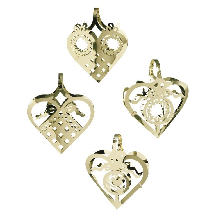 Miniature hearts in 4 designs, Gold, pack of four.