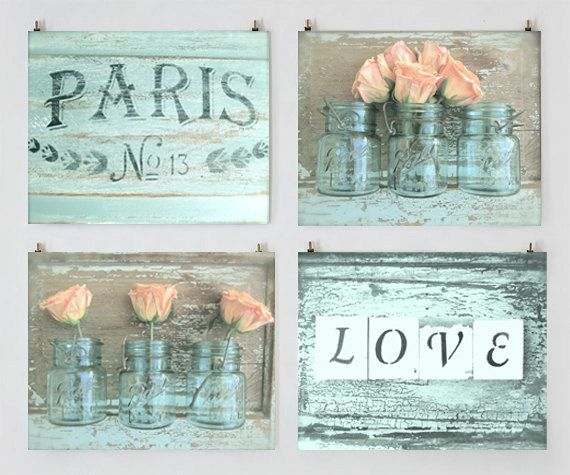 Shabby Cottage Chic Paris Photo Set Aqua Art By