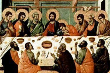 Holy Thursday...(Maundy Thursday) the Last Supper with His disciples just hours before being betrayed by Judas Iscariot in the garden of Gethsemane. This would lead to Christ's crucifixion.