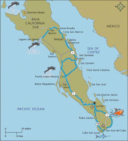 mappa viaggio, Atacama Travel, Baja California, Mexico www.atacama.it