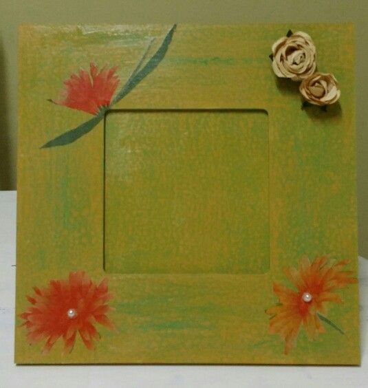 Frame with decoupage and decorations