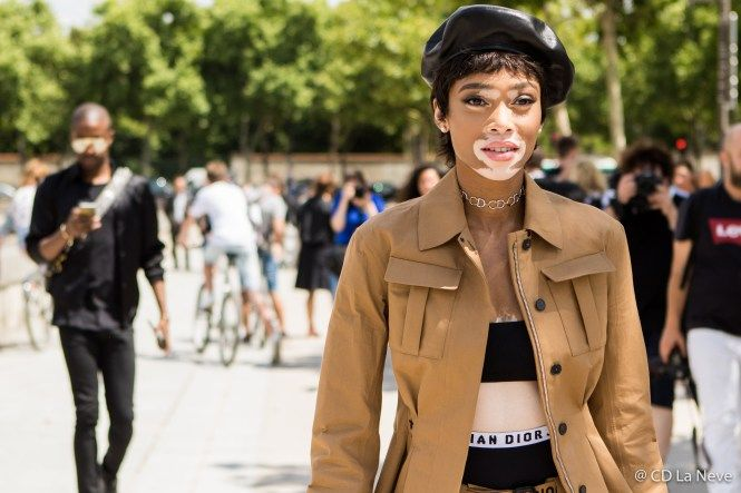 Winnie Harlow Dior Haute Couture Street Style Paris Fashion Week AW17