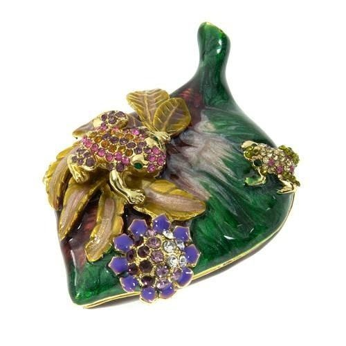 Collectors Edition Jewelry Box  Glittering jewelry box, made of yellow base metal and multicolor enamel. Length 3.2 inch. Gemstone info: crystal with round shape and multicolor.
