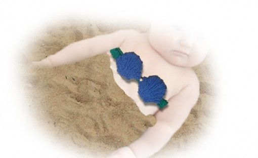 Mermaid Baby Knitted Top with pearl - pattern found at www.tbeecosy.com