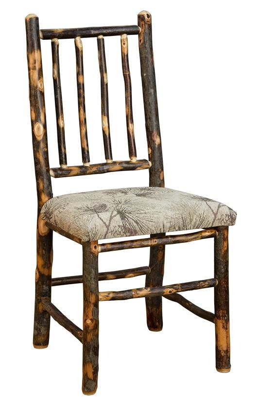 Blue Mountain Hickory Dining Chair with Four Spindle Back  Blue Mountain Hickory Collection  This Amish Rustic Hickory Chair with Four Spindle Back is sure to make an impression.