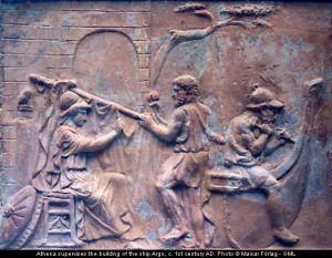 Atenea dirige la construcción de la nave Argo. Bajorrelieve romano, s. I d.C. British Museum
