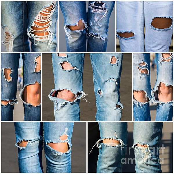 Tribe. Photo #collage of #male and #female #legs in #blue #jeans with plenty of holes and naked ...