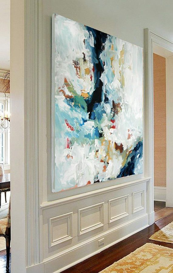 LARGE ORIGINAL Hand Painted Portray, Summary Artwork, Acrylic Portray on Canvas, XL giant Canvas Artwork. Customized Additional Massive Portray Inexperienced, Blue