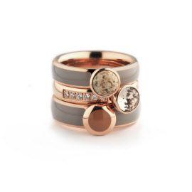 Melano ringen rosé twisted en vivid set, taupe