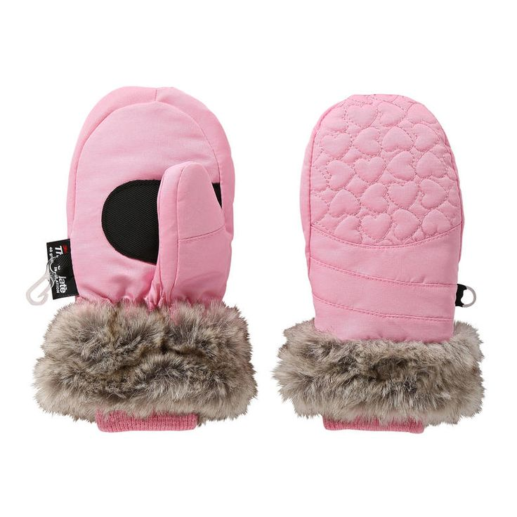 Toddler Girls' Heart Ski Mittens from Joe Fresh. Help keep her warm when it's cold outside with Thinsulate™ insulation, ribbed cuffs, and faux fur accents.  Only $10.