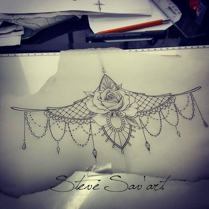 underboob tattoo, sternum tattoo sketch