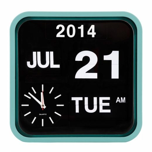 Cult Living Retro Square Calender Flip Clock - Peppermint