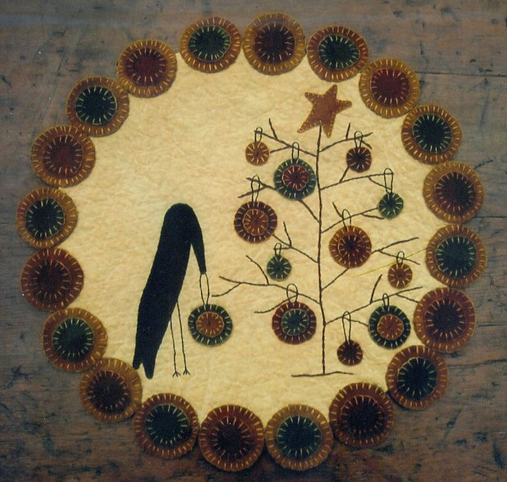 penny rug patterns | Primitive Wool Penny Rug e-Pattern Crow Decorating Christmas
