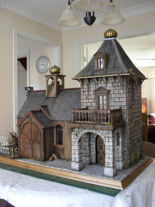 I want a house like this. display it on table, by fireplace ...... #dollhouse