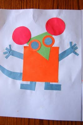 Read 'Mouse Shapes' by Ellen Stoll Walsh together and then start exploring shapes. Use blocks first and then construction paper. Allow children to create their picture with paper shapes and help them glue it down.