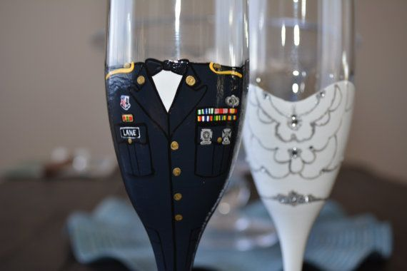 Set of 2 flutes. Each dress is customizable by color, top style and back style. Please message me with details of how you would like your dress to look. An attached picture is even better. Bride and groom along with the wedding date will be placed along the foot of the glass. Or whatever you wish. Each Dress uniform is customizable also. PLEASE include a picture of the uniform and medals you wish to have on the uniform. Glass paint is used and cured. All glasses are top rack dishwasher safe…