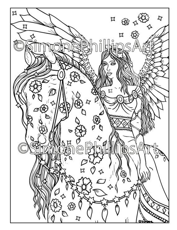 Angel On Horseback Horse Coloring Pages Halloween Coloring Horse Coloring