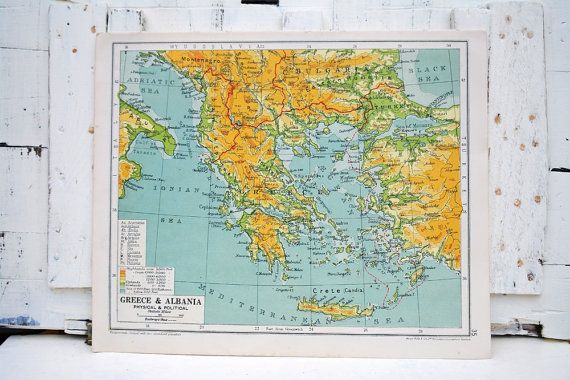 1929 Map of Greece political map European vintage by PippinRunWild, £5.00
