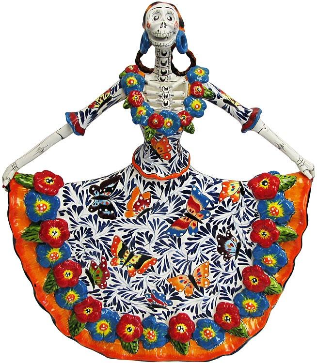 Ballerina in Butterfly Dress. Sugar skulls, calaveras, day if the dead/ dia de los muertos