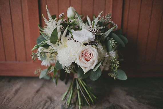 Roses, Veronica, astilbe, seeded eucalyptus hand tied bridal bouquet.