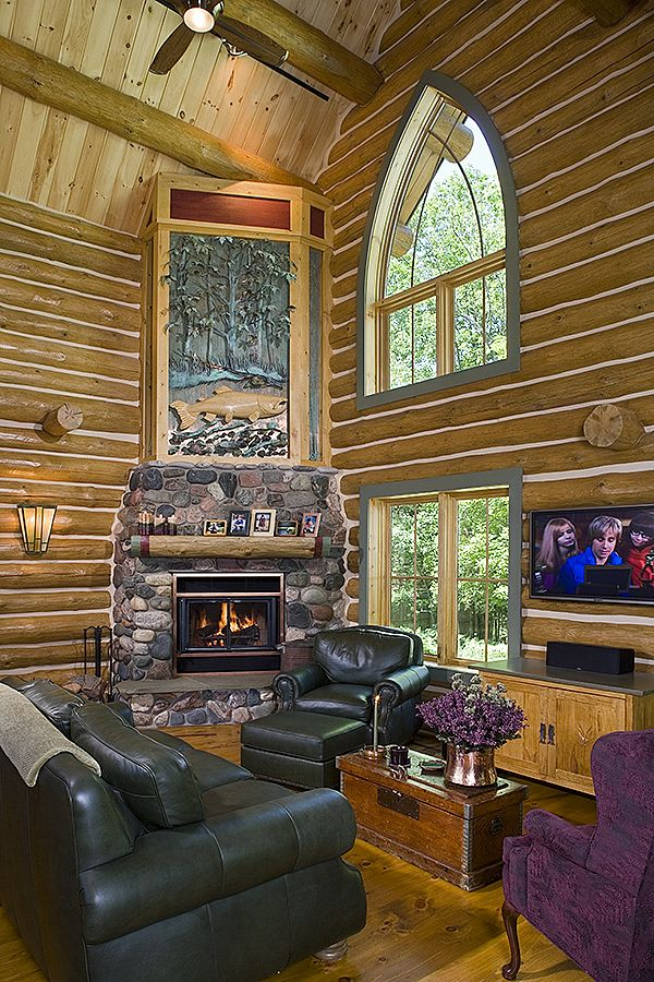 Superior One Of Kind Corner Fireplace · Log Home LivingCorner ...