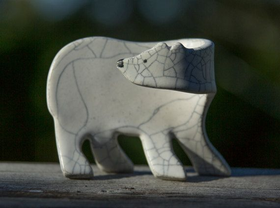 Our hand-built Baby Polar Bear sculptures are one of a kind, using high fired porcelain clays. Although the shape is the same, the glazing is random, resulting in the uniqueness of each piece signed by the artist. If you are a polar bear lover or just an admirer of contemporary clay designs, this work of art made with care and attention to detail will no doubt bring you many years of enjoyment .  Size 4 x 3 x 2  WE WILL ADJUST SHIPPING FEES ACCORDINGLY TO YOUR PLACE OF ADDRESS AND IF…